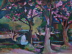 3 Kirschbäume mit sitzender Frau